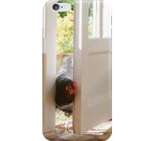 free range pet chicken walking into kitchen iPhone Case/Skin