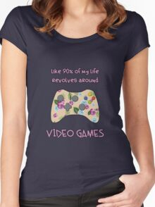 Floral video game controller Women's Fitted Scoop T-Shirt
