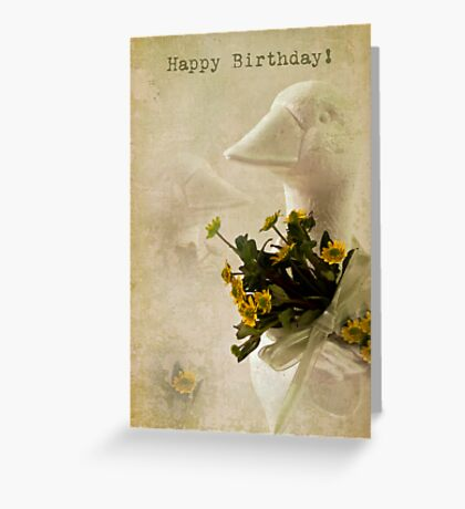 Duck And Yellow Daisy Birthday Card  Greeting Card