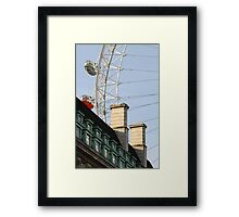 London Eye Crashing Into Building Framed Print