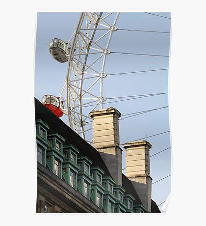 London Eye Crashing Into Building Poster