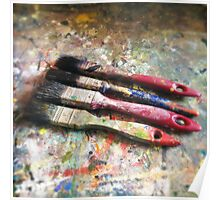 Four Paintbrushes Poster