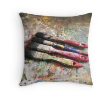 Four Paintbrushes Throw Pillow