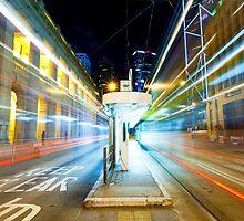 Night traffic in Hong Kong  by kawing921