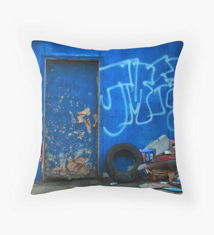 Battered Blue Throw Pillow
