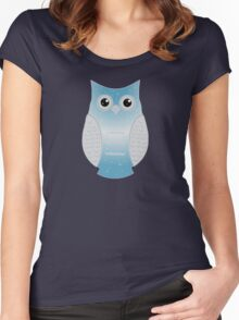 Light Blue Snow Owl Women's Fitted Scoop T-Shirt