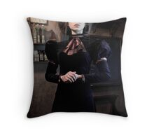 THE GOVERNESS STEAMPUNK PRINT Throw Pillow