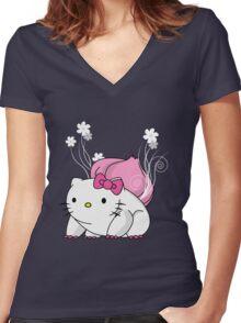 Bulbakittysaur Women's Fitted V-Neck T-Shirt
