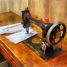 Sewing Machine With Orange Thread by Susan Savad