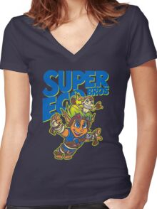 Super Eco Bros Women's Fitted V-Neck T-Shirt