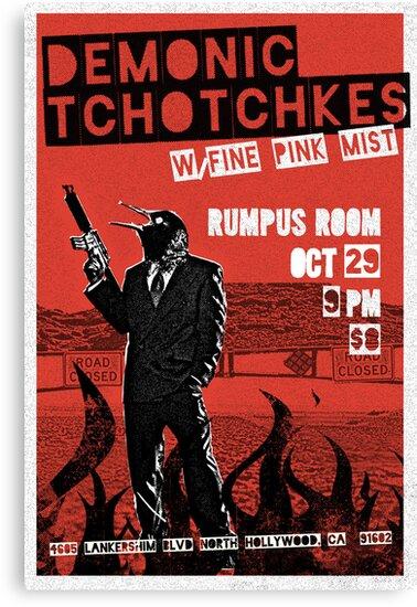 Fake band gig poster or t-shirt, DEMONIC TCHOTCHKES by DesignComa