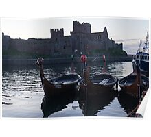 Viking Longboats and the Castle Poster