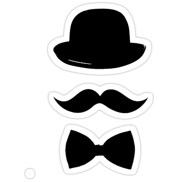 Hat, mustache and bow tie t-shirt/hoodie/sticker  by Domsbubble