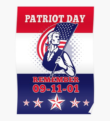 American Patriot Day Poster 911 Greeting Card Poster