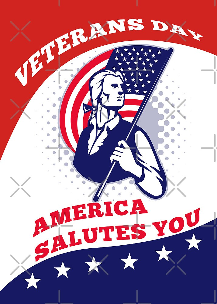 American Patriot Veterans Day Poster Greeting Card by patrimonio