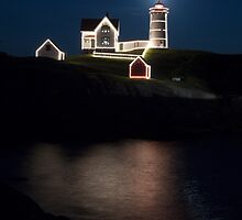 Moon Over Nubble Lighthouse by Mark Van Scyoc