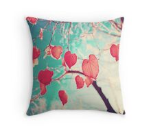 Our hearts are autumn leaves waiting to fall (Pink - Red fall leafs and brilliant retro blue sky) Throw Pillow
