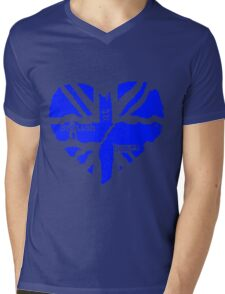Brit At Heart (blue) Mens V-Neck T-Shirt