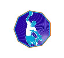 handball player jumping throwing ball by retrovectors