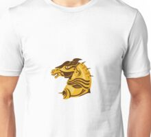 war horse side view with armor retro Unisex T-Shirt
