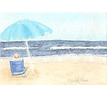 Chair and Umbrella on the Beach Photographic Print