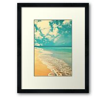 Waves of the sea (retro beach and blue sky) Framed Print