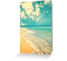 Waves of the sea (retro beach and blue sky) Greeting Card