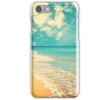 Waves of the sea (retro beach and blue sky) iPhone Case/Skin