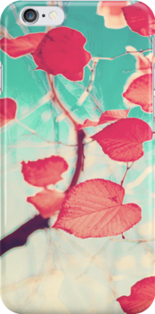 Our hearts are autumn leaves waiting to fall (Pink - Red fall leafs and brilliant retro blue sky) by Andreka