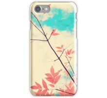 Pink fall leafs on retro vintage sky  iPhone Case/Skin