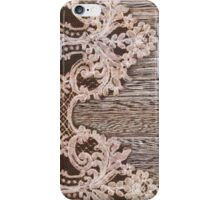 vintage rustic Country Barn Wood white Lace pattern iPhone Case/Skin