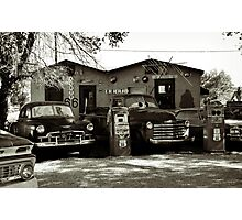 Old cars on Route 66 Photographic Print