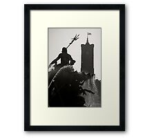 Neptune Fountain and Rotes Rathaus tower Framed Print