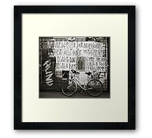 Graffiti and bycicle Framed Print