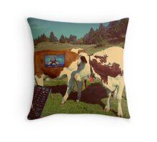la vaca loca Throw Pillow