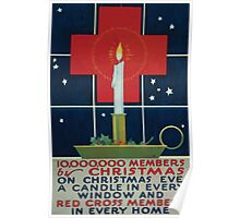 10000000 members by Christmas On Christmas eve a candle in every window and Red Cross members in every home 002 Poster