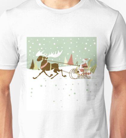 Retro christmas illustration smart and reindeer Unisex T-Shirt