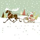 Retro christmas illustration smart and reindeer by artonwear