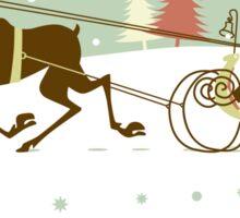 Retro christmas illustration smart and reindeer Sticker