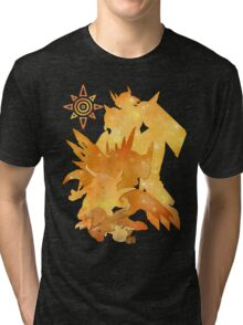 Tai's Agumon digievolution line (Digimon Adventure) Tri-blend T-Shirt