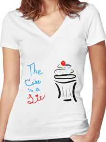 """Portal """"The Cake Is A Lie"""" Cupcake Women's Fitted V-Neck T-Shirt"""