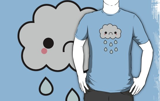 Adorable Kawaii Sad Rainy Storm Cloud by hellohappy