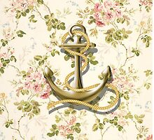 romantic vintage anchor shabby chic floral by lfang77
