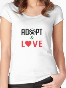 Adopt & Love (T-Shirt & Sticker ) Women's Fitted Scoop T-Shirt