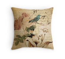 vintage rose bird paris french botanical art Throw Pillow