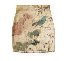 vintage rose bird paris french botanical art Pencil Skirt
