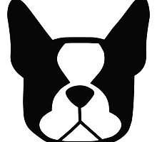 boston terrier face silhouette in black and white by smooshfaceutd