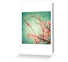 Pink Autumn Leafs on Blue Textured Sky (Vintage Nature Photography) Greeting Card