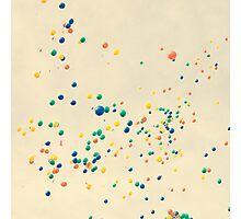 All the magic between you and me ( many colour balloons flying in a retro sky) Photographic Print