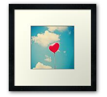 Love is in the air (Red Heart Balloon on a Retro Blue Sky) Framed Print